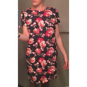 XL pink floral shift dress